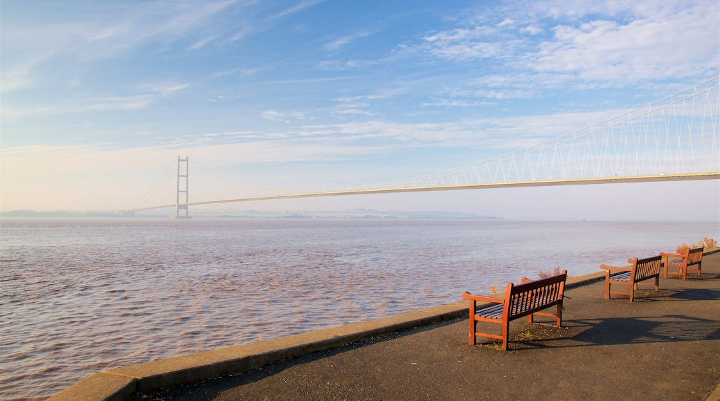 Humber Bridge featuring a bridge, a river or creek and a sunset