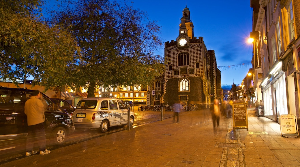 Norwich Guildhall featuring night scenes and heritage elements