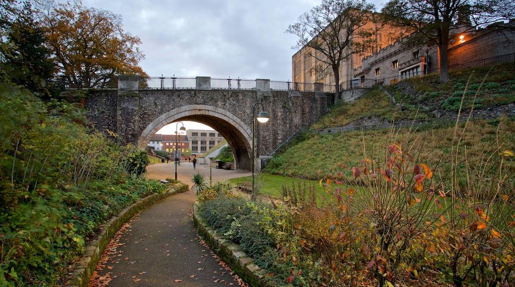 Norwich Castle welches beinhaltet Garten und Brücke