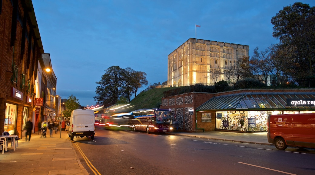 Norwich Castle which includes heritage architecture and night scenes