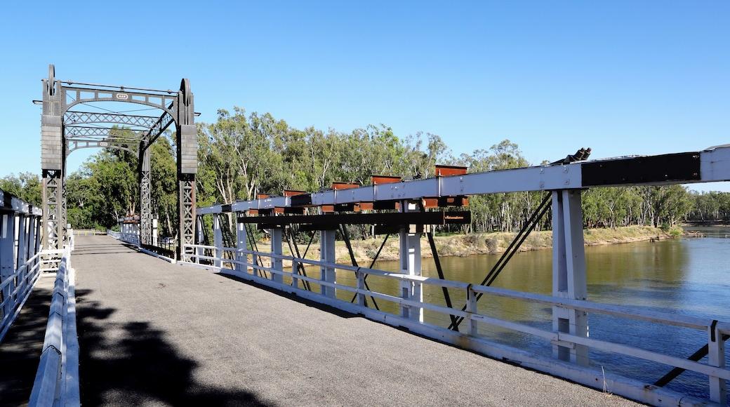 Cobram showing a bridge and a river or creek