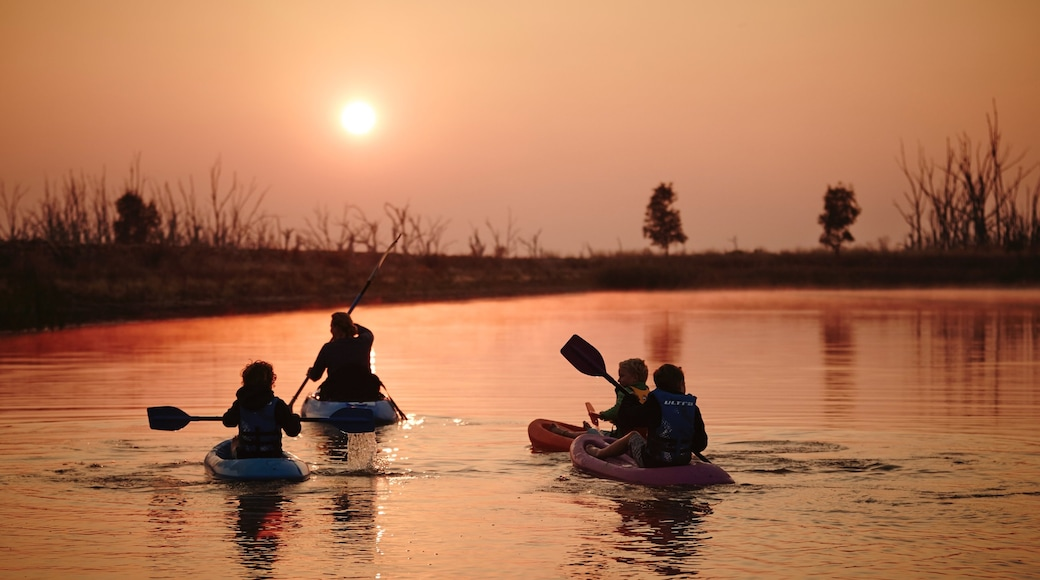 Benalla featuring a sunset, kayaking or canoeing and a river or creek