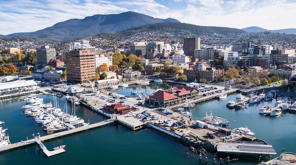 Hobart featuring a bay or harbour, landscape views and a city