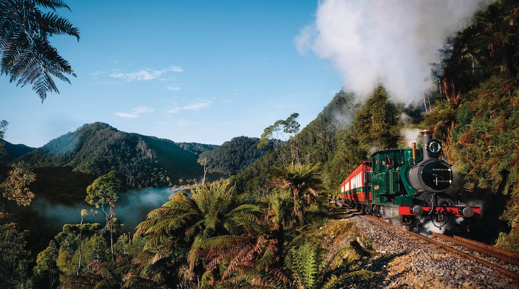 West Coast Tasmania which includes railway items and tranquil scenes