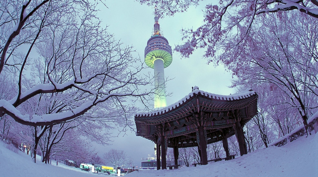 N Seoul Tower which includes a high-rise building, modern architecture and snow