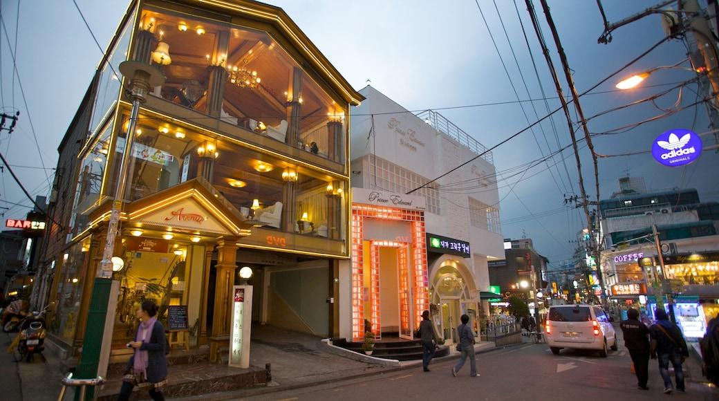 弘大 呈现出 城市, 夜景 和 街道景色