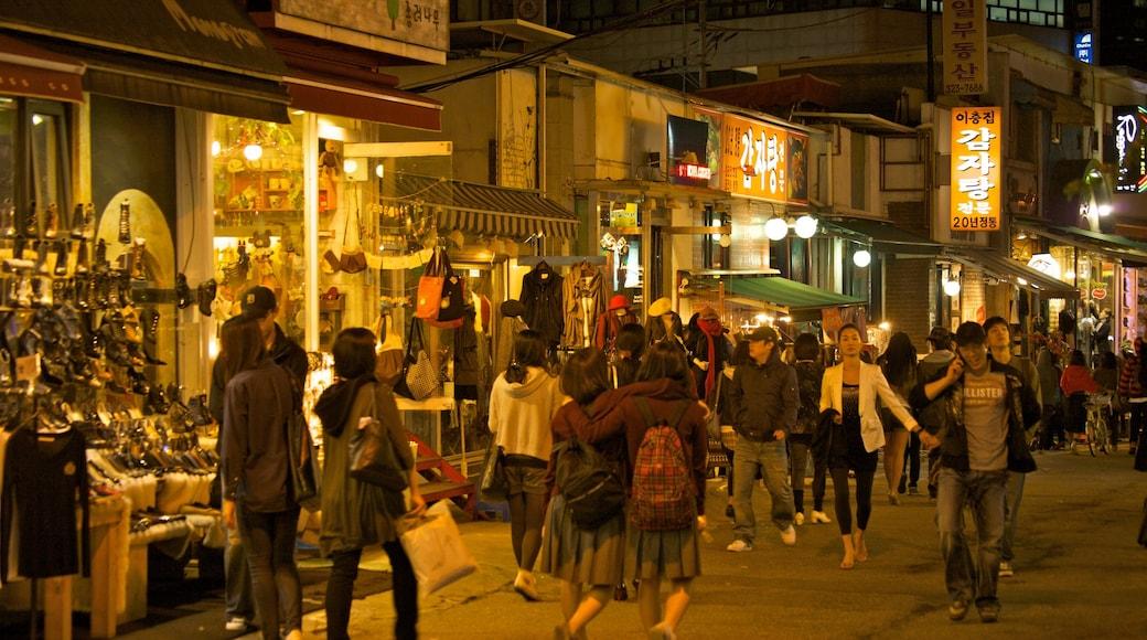 ฮงแด ซึ่งรวมถึง เมือง, กิจกรรมยามค่ำคืน และ ตลาด