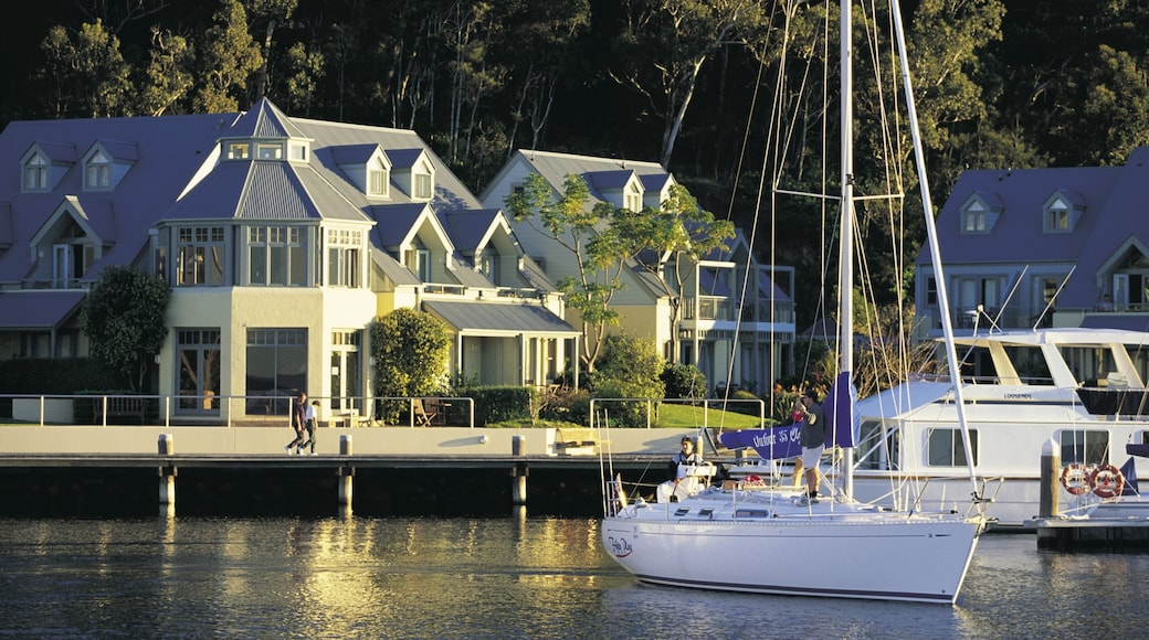 Port Stephens which includes a bay or harbour, a coastal town and boating
