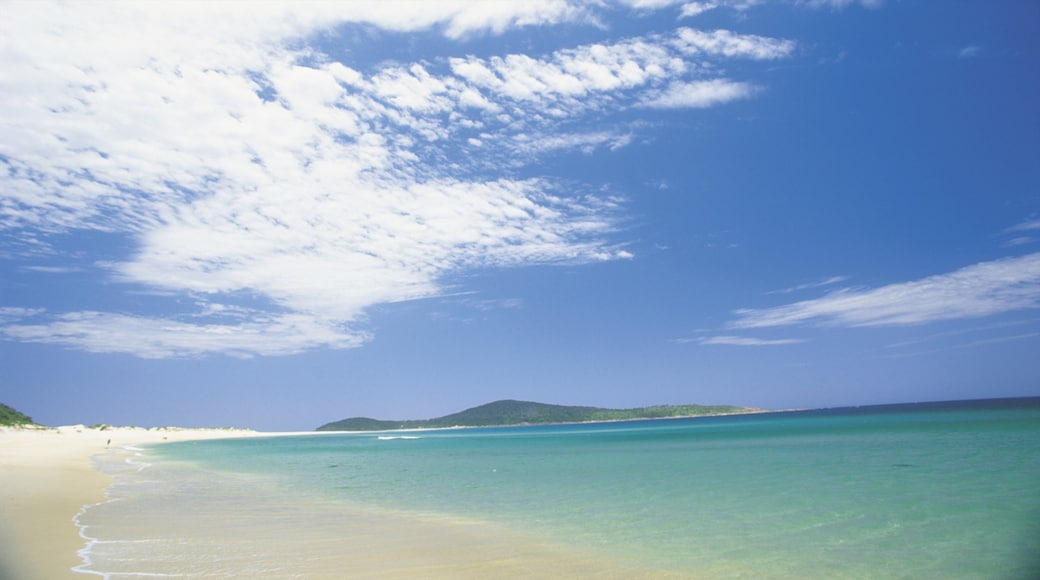 Port Stephens which includes landscape views, a beach and tropical scenes