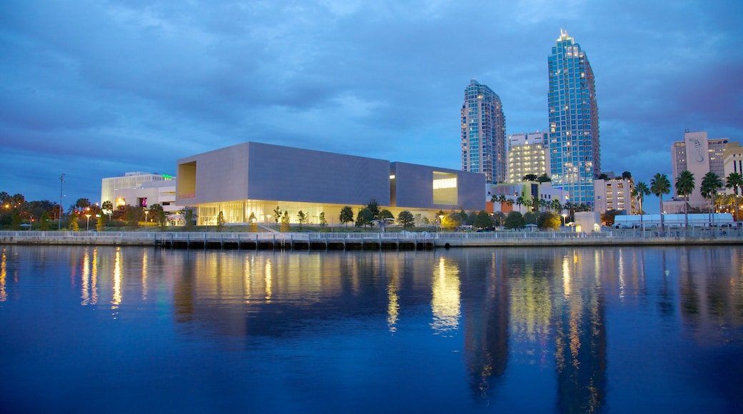 Tampa Museum of Art which includes a bay or harbour, a city and modern architecture
