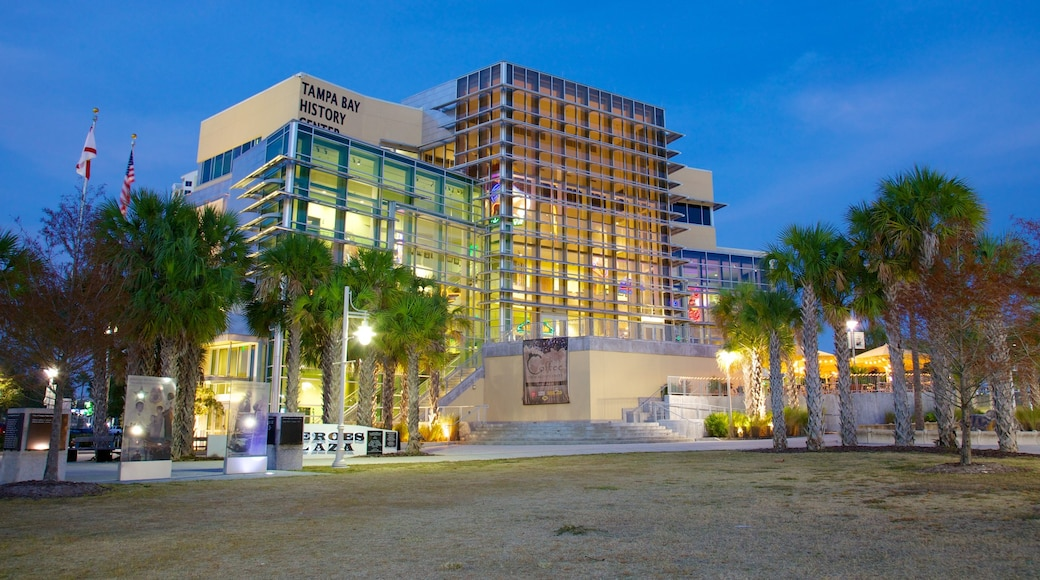 Tampa Bay History Center showing a city and night scenes