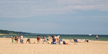 Pere Marquette Park Beach showing general coastal views and a sandy beach as well as a small group of people
