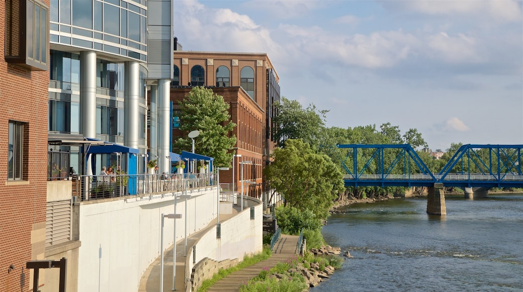 Grand Rapids which includes a river or creek, a bridge and a city