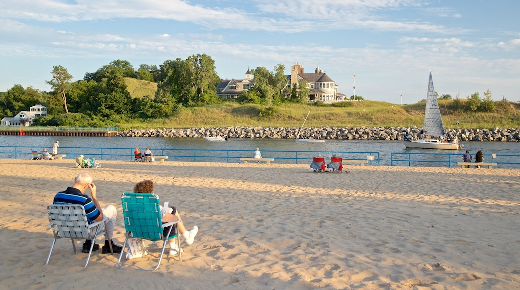 Holland State Park featuring general coastal views and a sandy beach as well as a couple