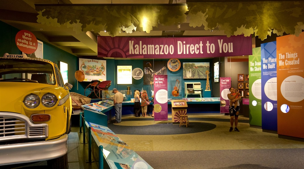 Kalamazoo Valley Museum featuring interior views as well as a small group of people