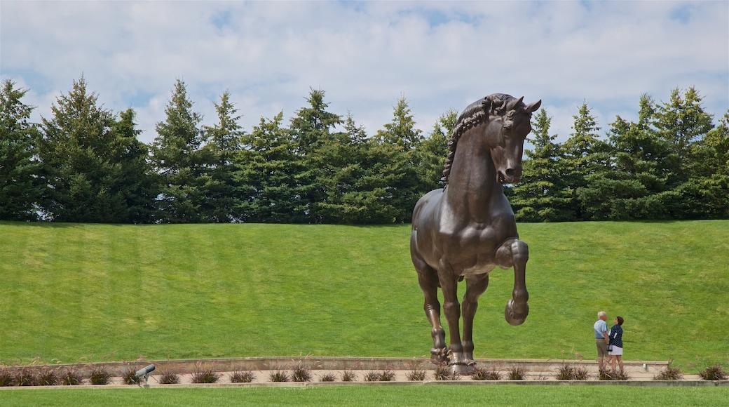Leonardo da Vinci\'s Horse which includes outdoor art, a garden and a statue or sculpture
