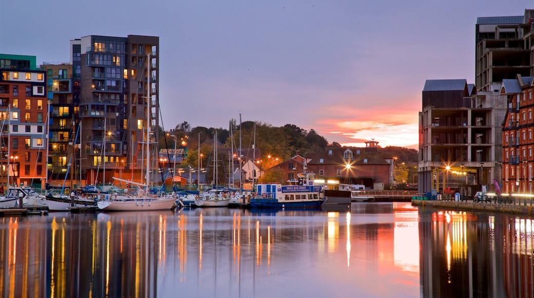 Ipswich Waterfront featuring a sunset and a bay or harbour