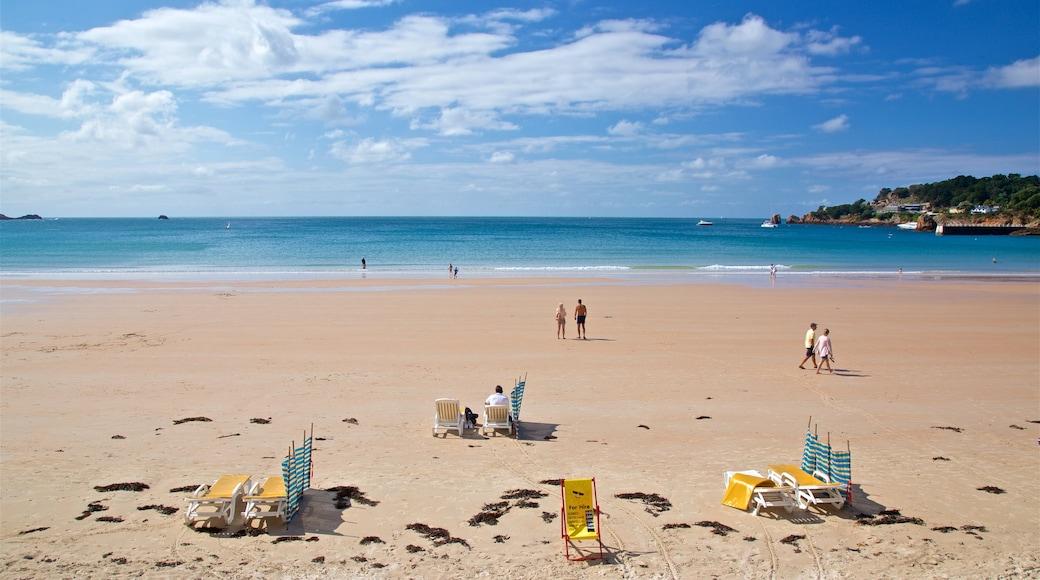 St Brelade\'s Bay Beach featuring general coastal views, a sandy beach and landscape views