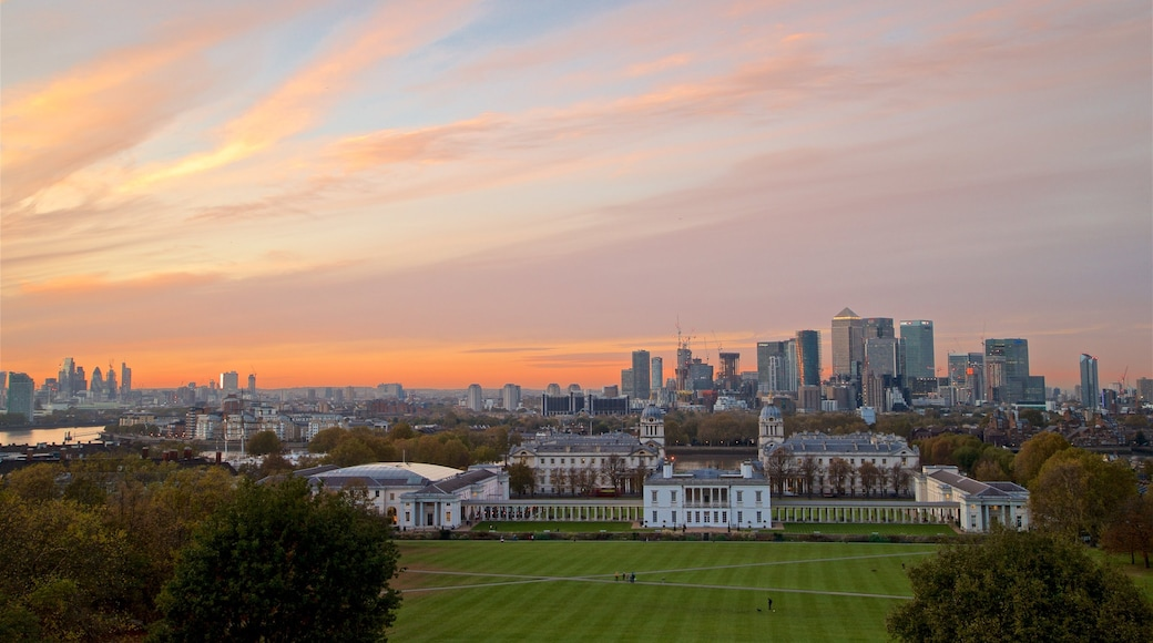 Greenwich Park featuring a sunset, landscape views and a garden