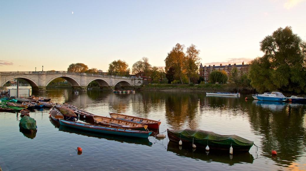 Richmond Bridge featuring a sunset, a bridge and a river or creek
