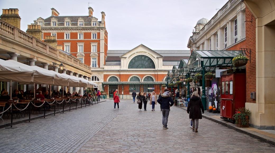 Covent Garden Market presenterar gatuliv såväl som en liten grupp av människor