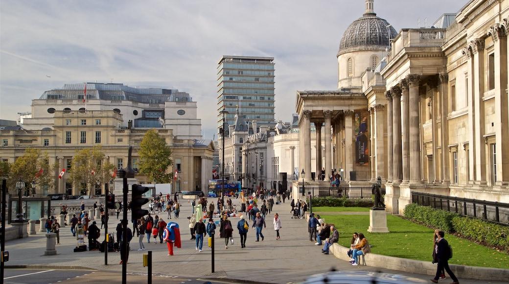 Nasjonalgalleriet som viser historisk arkitektur, by og gatescener