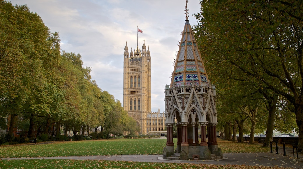 Victoria Tower featuring heritage elements and a garden