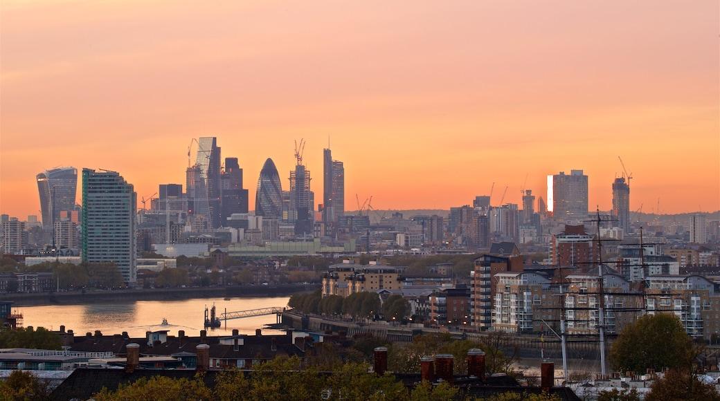 Greenwich Park das einen Landschaften, Sonnenuntergang und Stadt