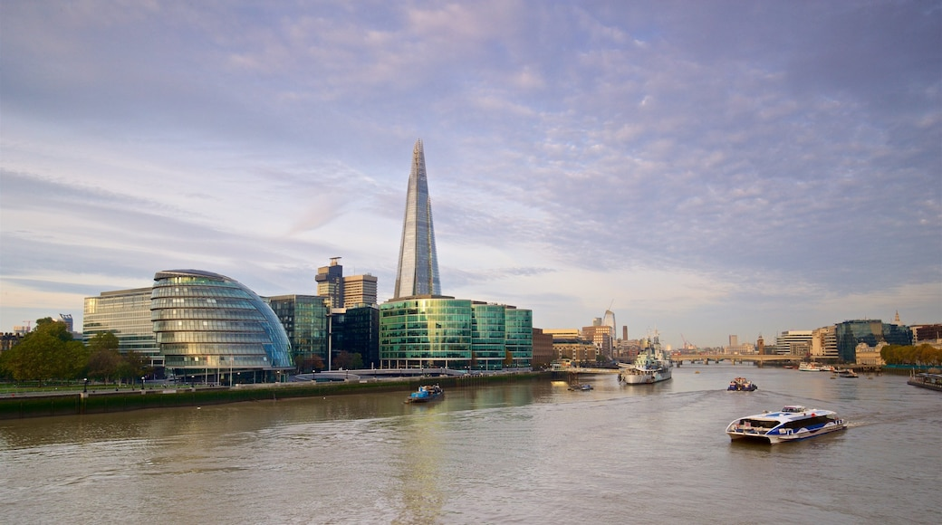 The Shard showing a city, a river or creek and modern architecture