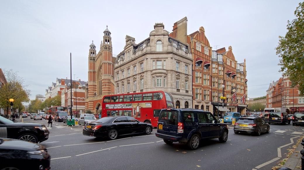 Sloane Square som inkluderer historisk arkitektur