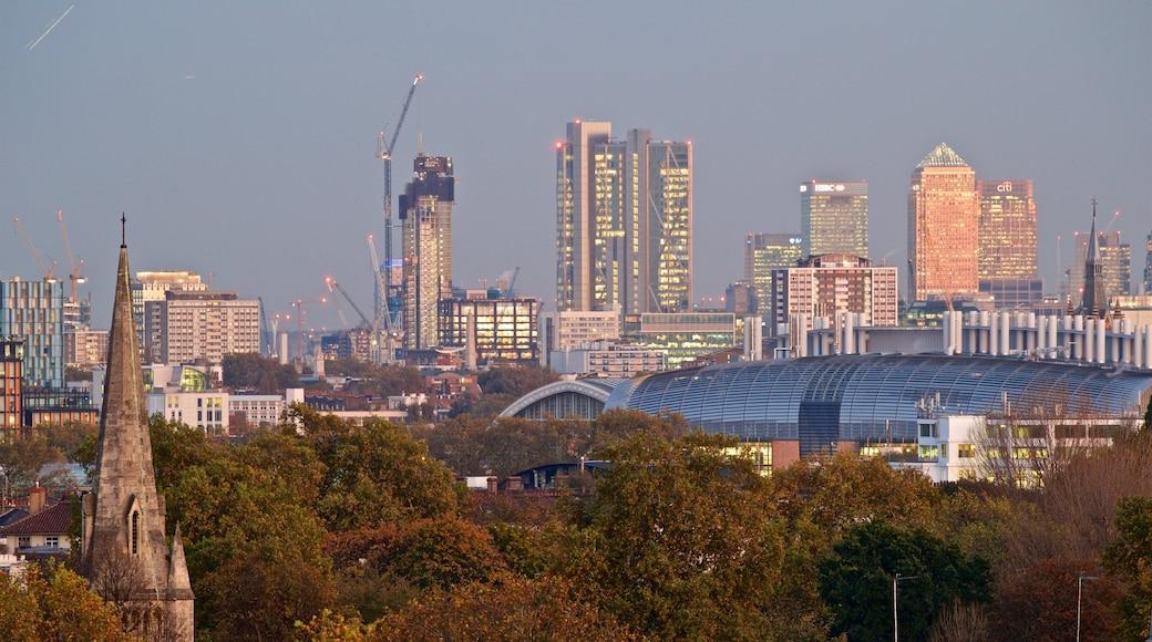 Primrose Hill som inkluderar en stad, landskap och skyline