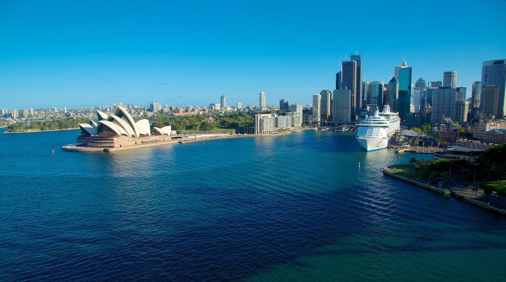 Circular Quay featuring a bay or harbor, a city and modern architecture