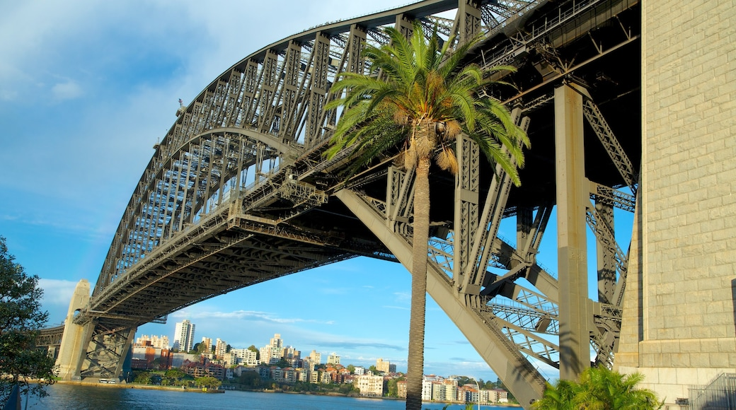 Sydney Harbour Bridge showing modern architecture, a bridge and a bay or harbour