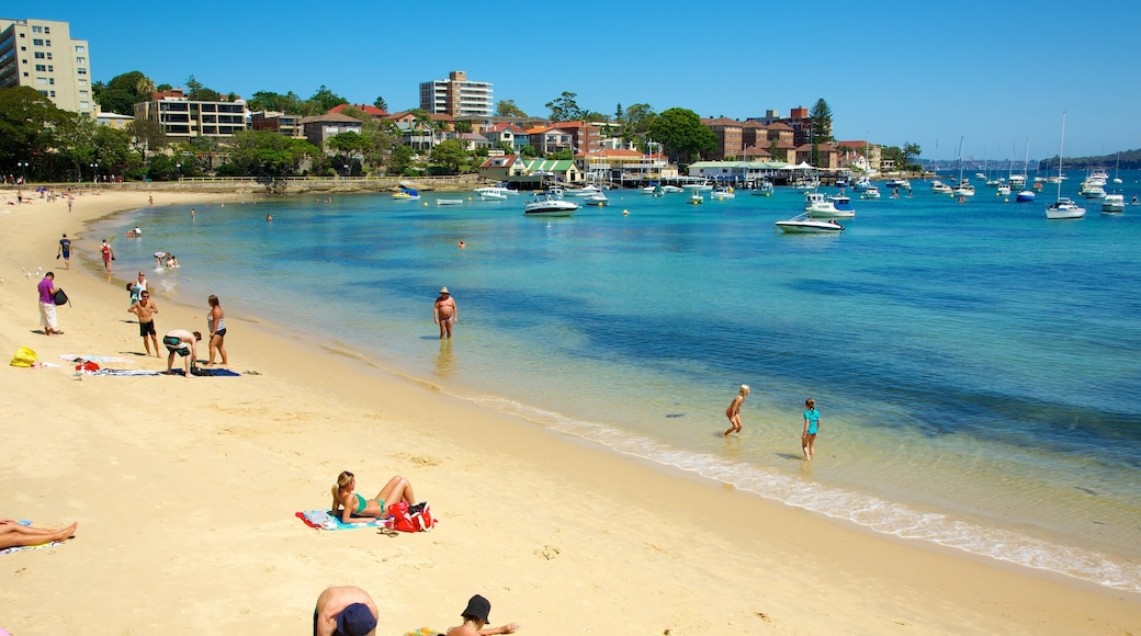 Manly Beach showing swimming, a coastal town and boating