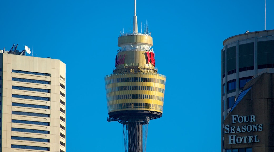 Sydney Tower showing a city, modern architecture and a skyscraper