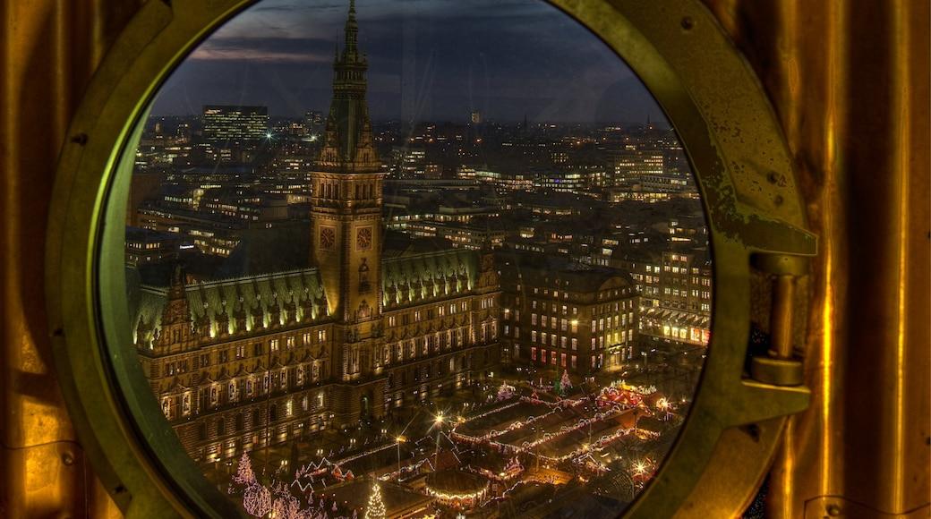 Hamburg fasiliteter samt utsikt, by og historisk arkitektur