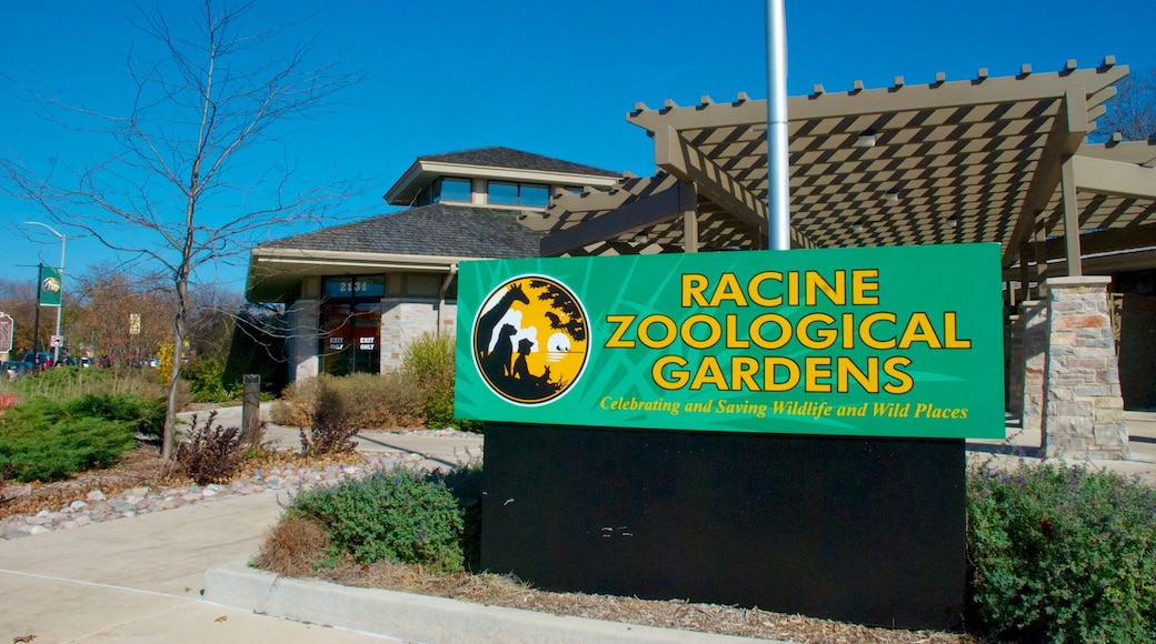 Racine Zoological Gardens which includes signage and zoo animals