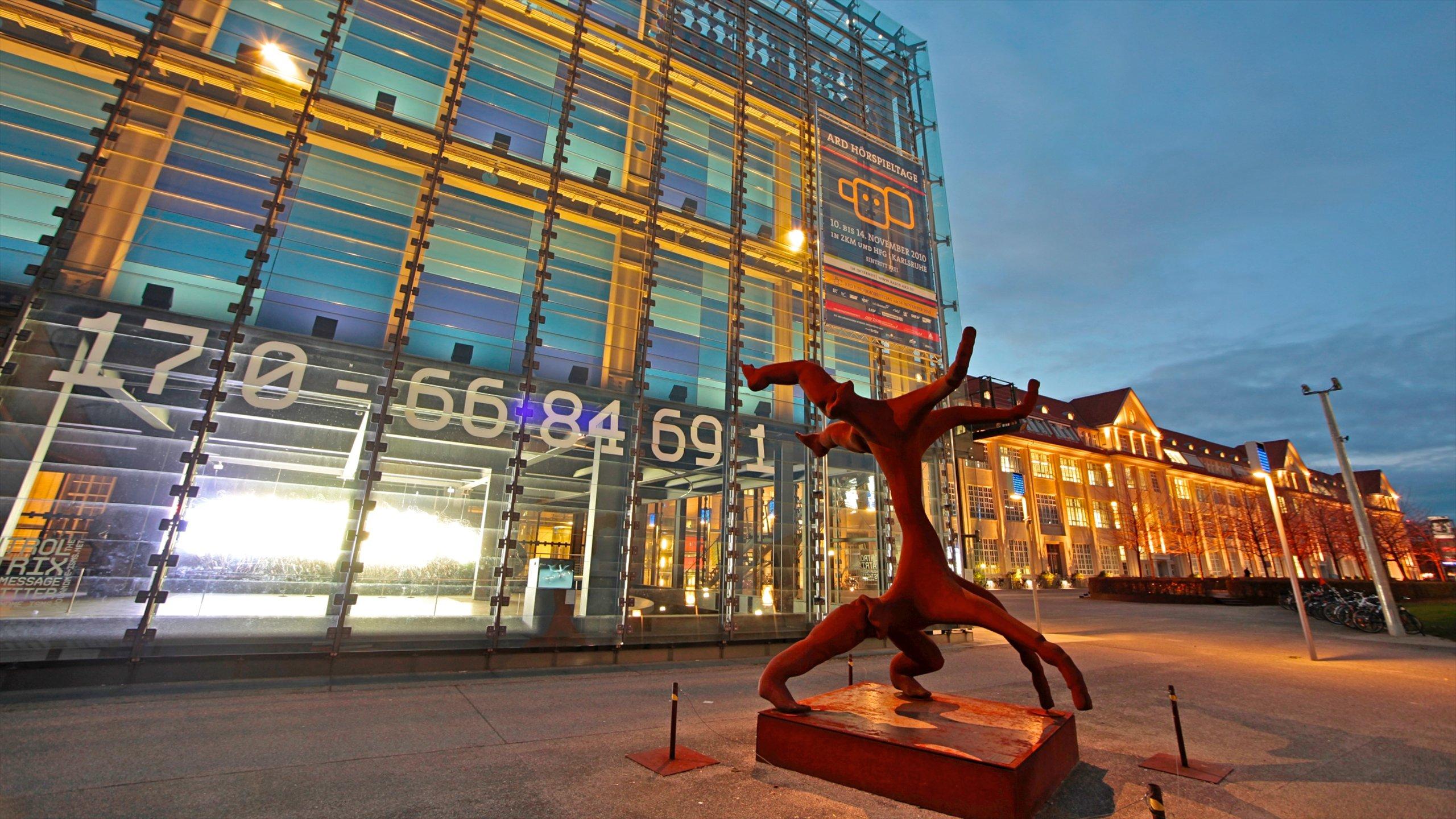 Karlsruhe featuring cbd, art and night scenes
