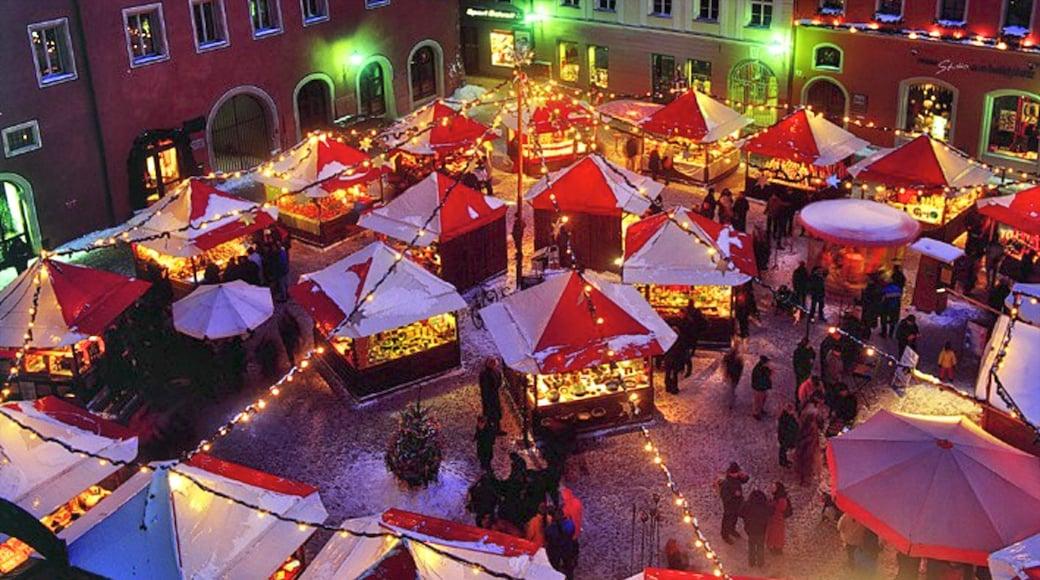 Regensburg mostrando vita notturna, strade e paesaggio notturno