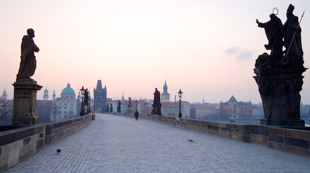 Charles Bridge showing a bridge, street scenes and heritage architecture