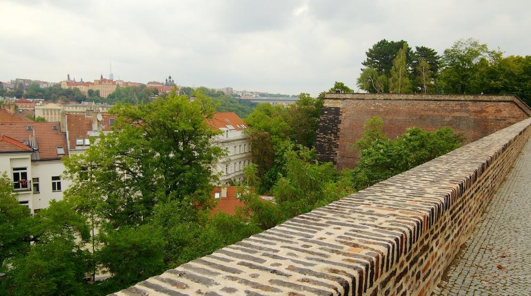 Vyšehrad Slot som viser historiske bygningsværker, en lille by eller en landsby og et slot
