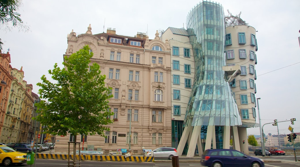 Prague Dancing House which includes street scenes, a city and modern architecture