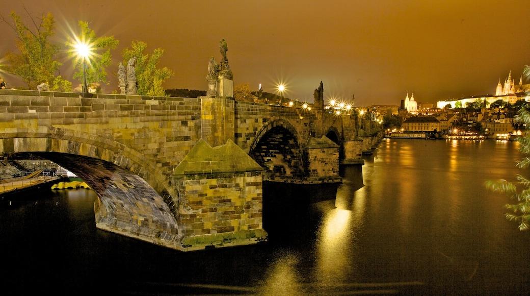 Czech Republic featuring heritage architecture, a bridge and night scenes