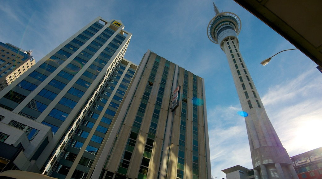 Sky Tower showing a city, central business district and a high-rise building