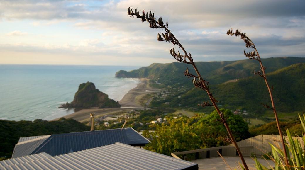 Piha Beach showing landscape views, mountains and general coastal views