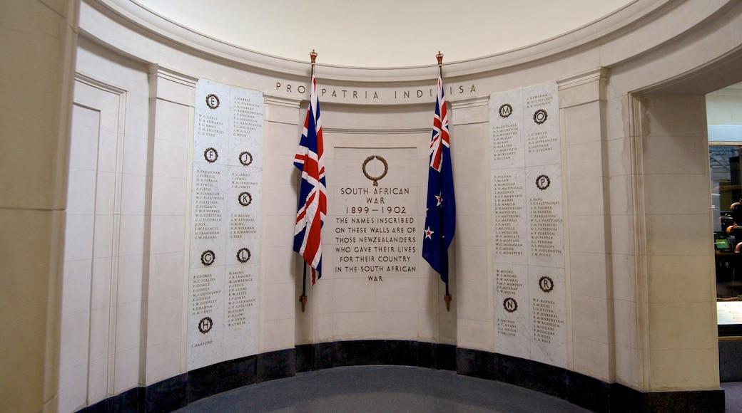 Auckland War Memorial Museum showing a memorial, interior views and signage