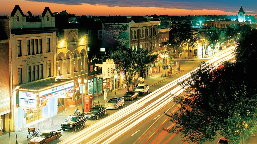 Old Strathcona featuring a sunset, night scenes and street scenes