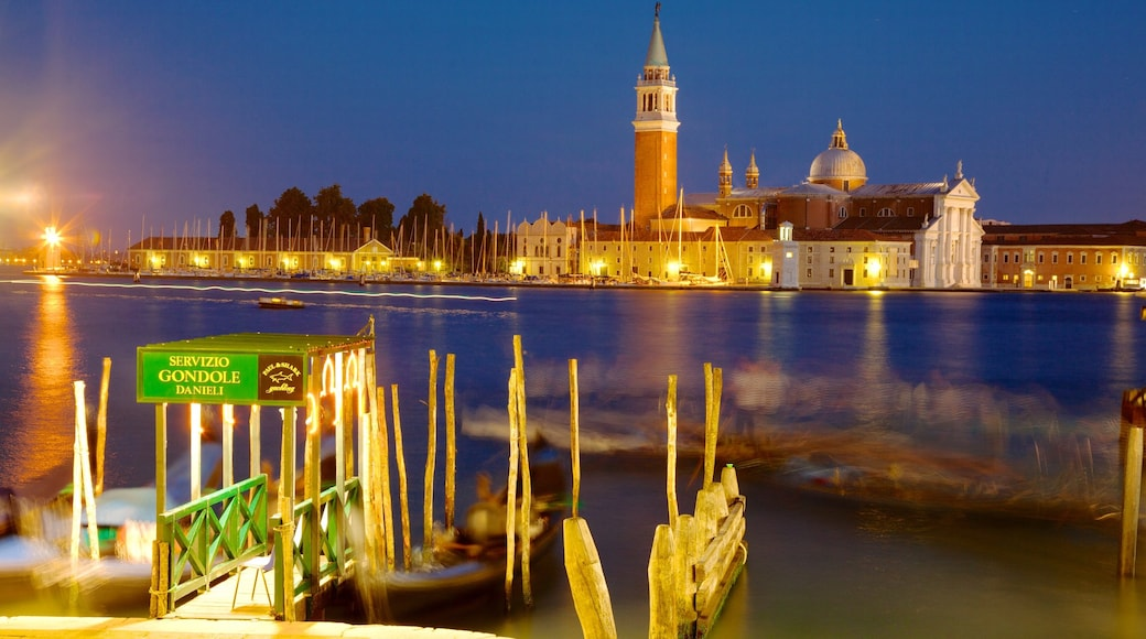 Church of San Giorgio Maggiore showing a bay or harbor, a church or cathedral and religious elements