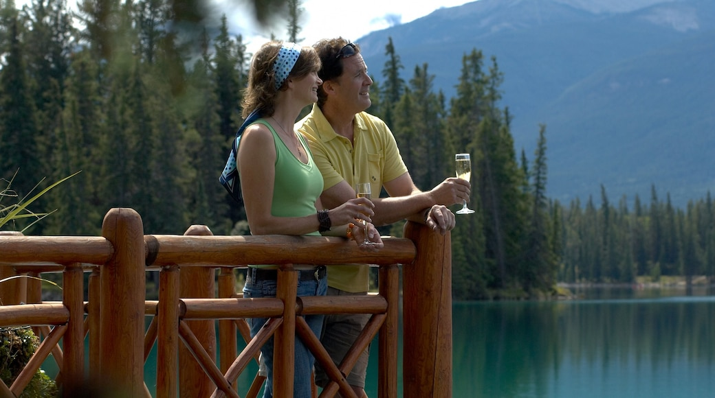 Jasper showing landscape views, forests and a lake or waterhole