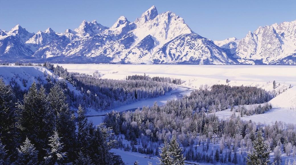 Jackson Hole featuring lunta, maisemat ja vuoret
